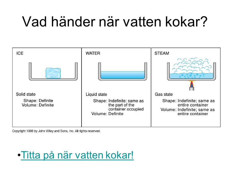 Vad händer när vatten kokar