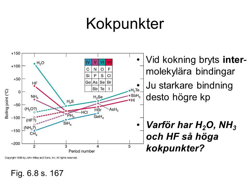 Kokpunkter Vid kokning bryts inter-molekylära bindingar