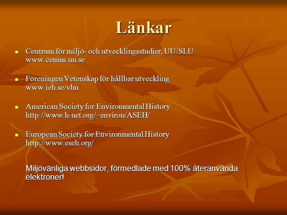 Länkar Centrum för miljö- och utvecklingsstudier, UU/SLU www.cemus.uu.se. Föreningen Vetenskap för hållbar utveckling www.ieh.se/vhu.