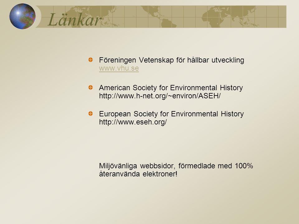 Länkar Föreningen Vetenskap för hållbar utveckling www.vhu.se