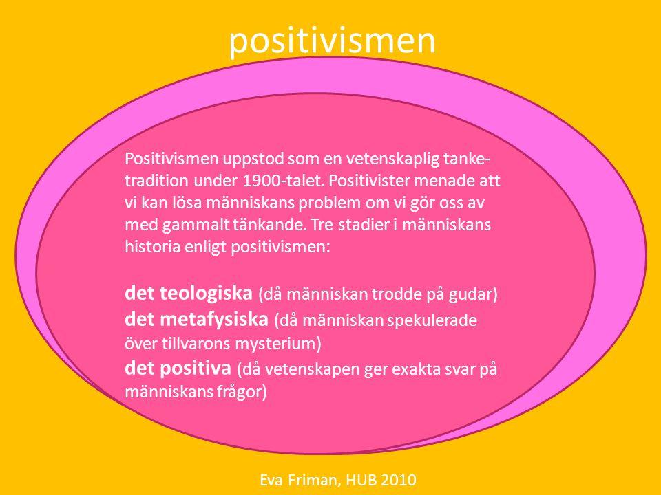 positivismen det teologiska (då människan trodde på gudar)