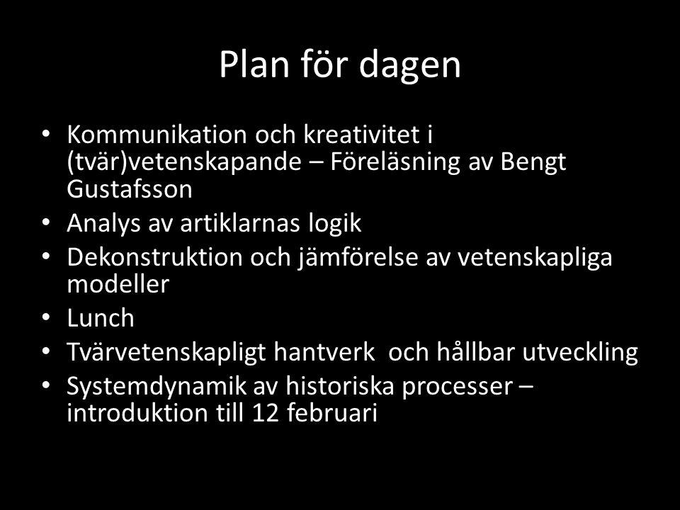 Plan för dagen Kommunikation och kreativitet i (tvär)vetenskapande – Föreläsning av Bengt Gustafsson.