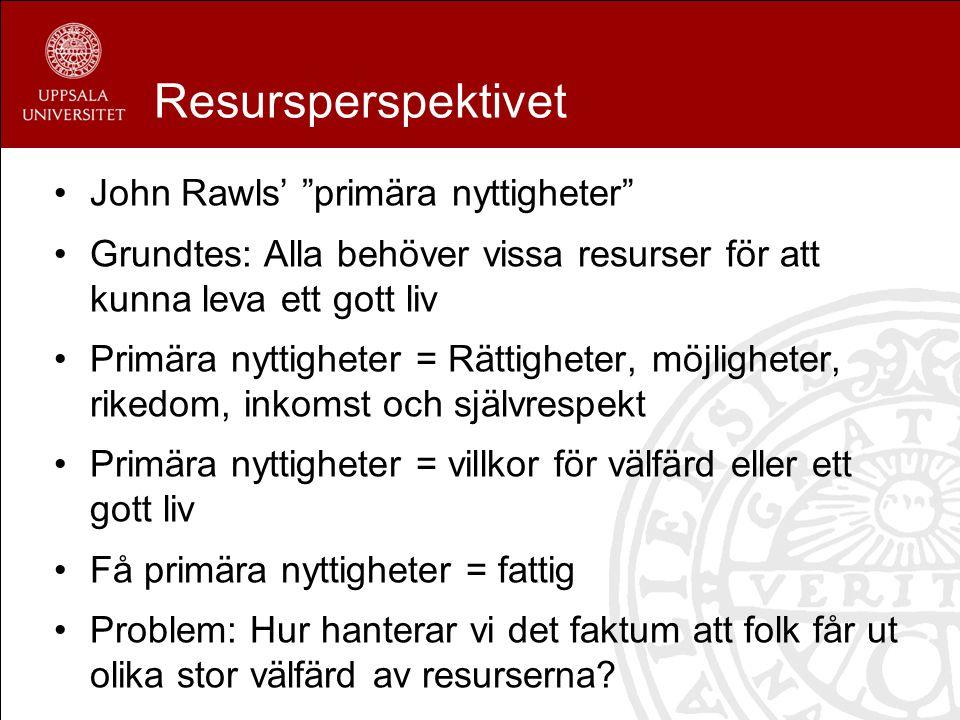 Resursperspektivet John Rawls' primära nyttigheter