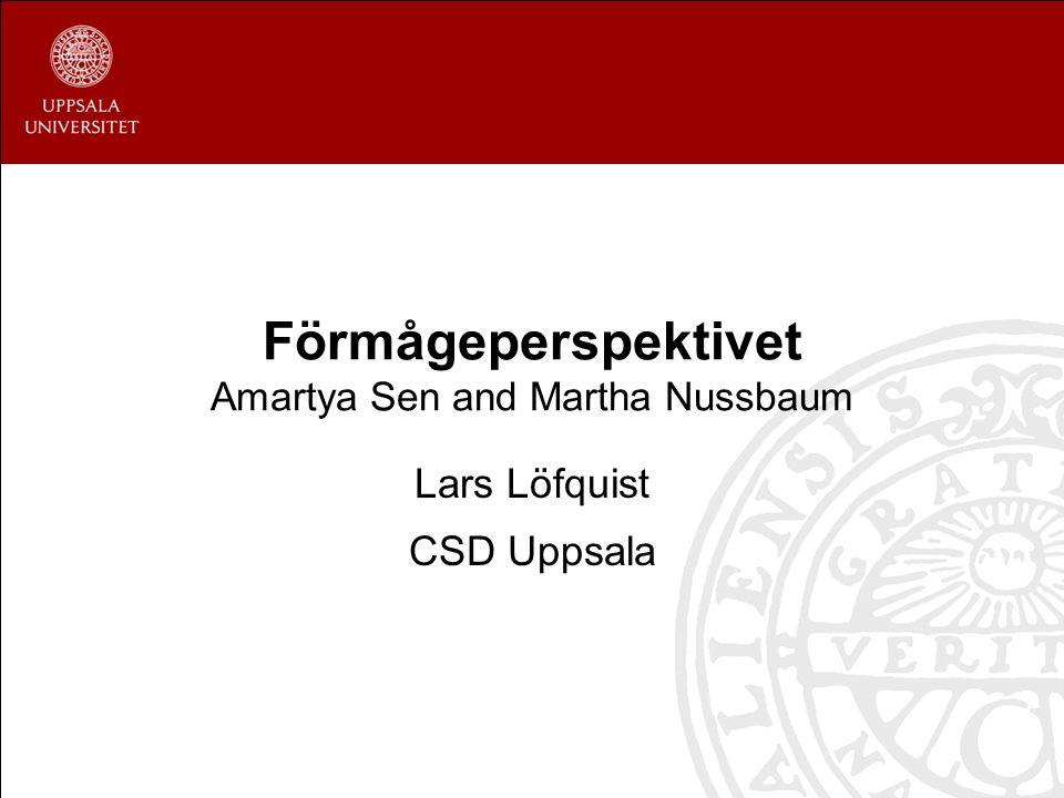 Förmågeperspektivet Amartya Sen and Martha Nussbaum