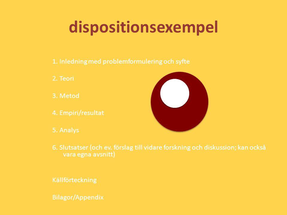 dispositionsexempel 1. Inledning med problemformulering och syfte