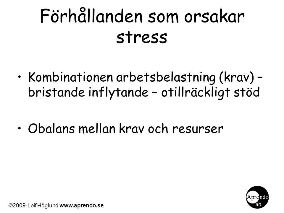 Förhållanden som orsakar stress