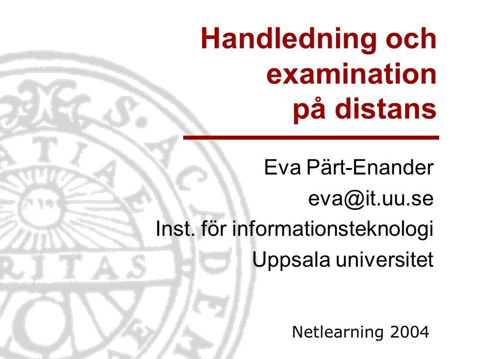 Handledning och examination på distans
