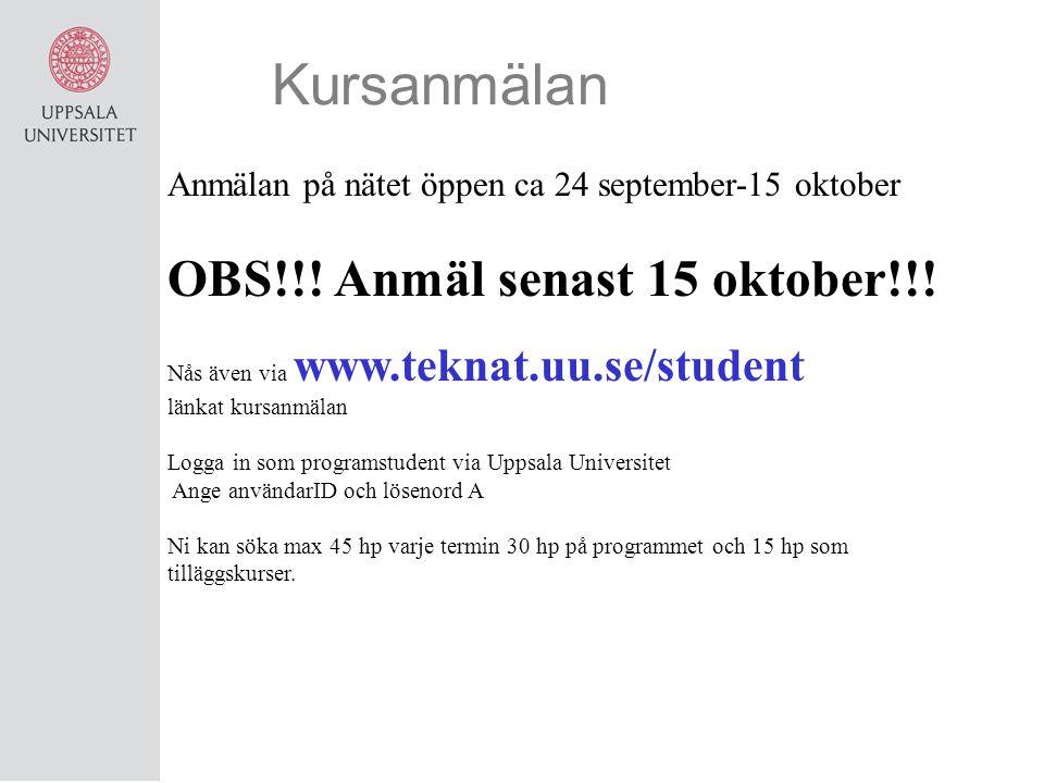 Kursanmälan OBS!!! Anmäl senast 15 oktober!!!