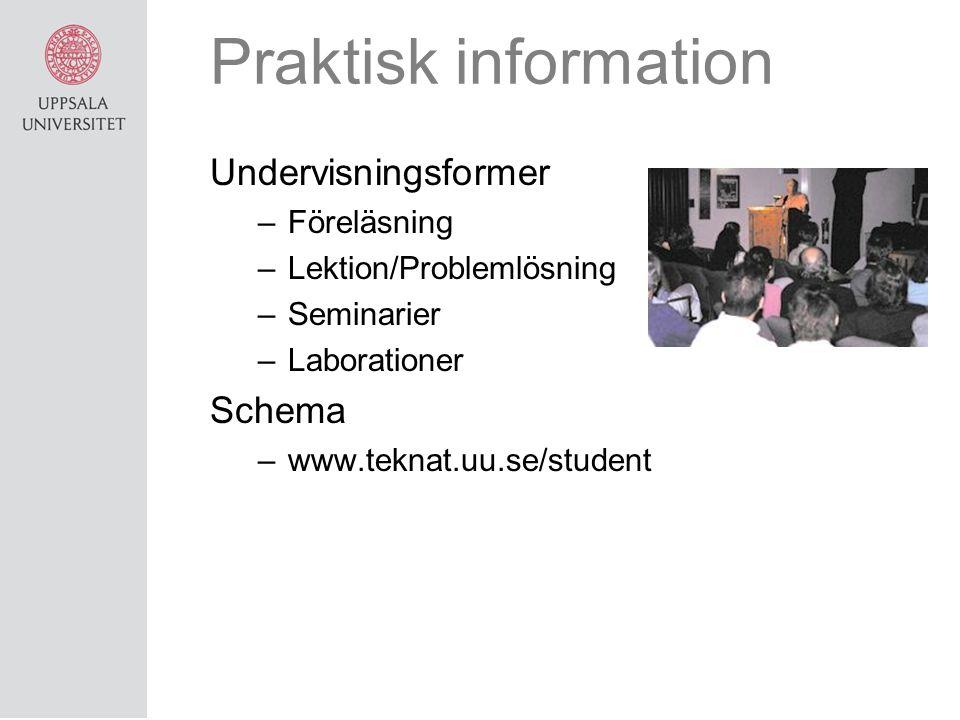 Praktisk information Undervisningsformer Schema Föreläsning