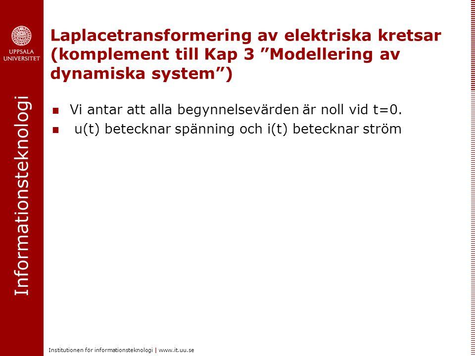 Laplacetransformering av elektriska kretsar (komplement till Kap 3 Modellering av dynamiska system )