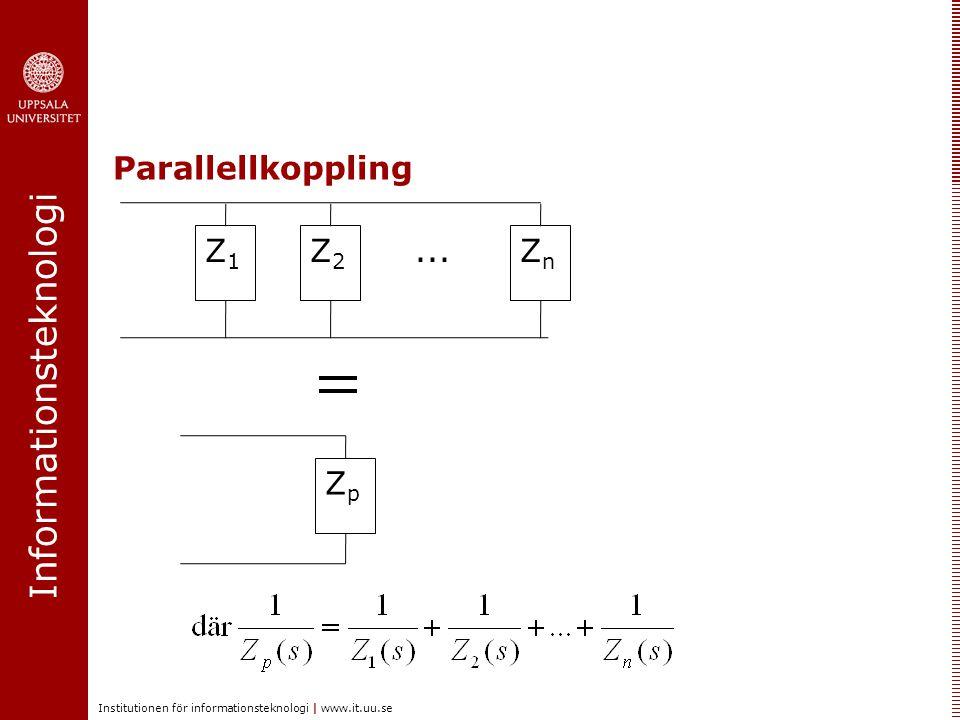 Parallellkoppling Z1 Z2 ... Zn Zp