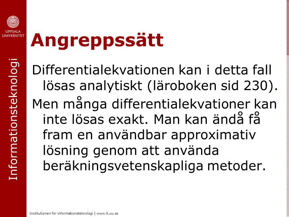 Angreppssätt Differentialekvationen kan i detta fall lösas analytiskt (läroboken sid 230).