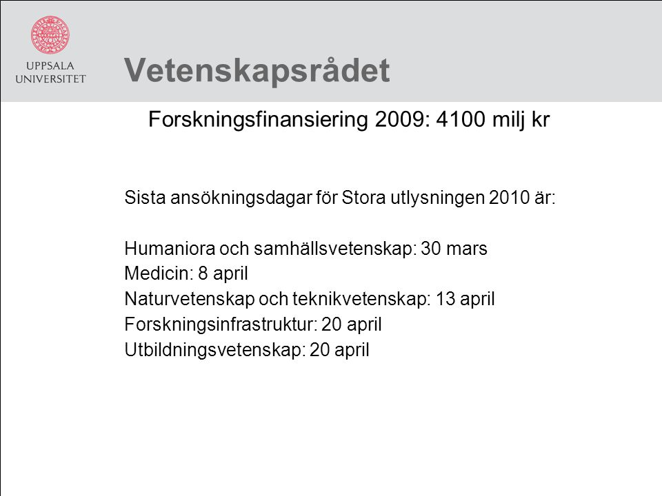 Forskningsfinansiering 2009: 4100 milj kr