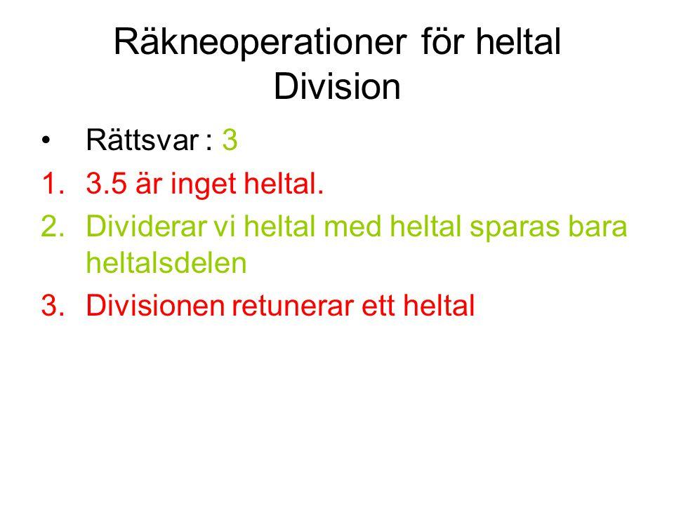 Räkneoperationer för heltal Division
