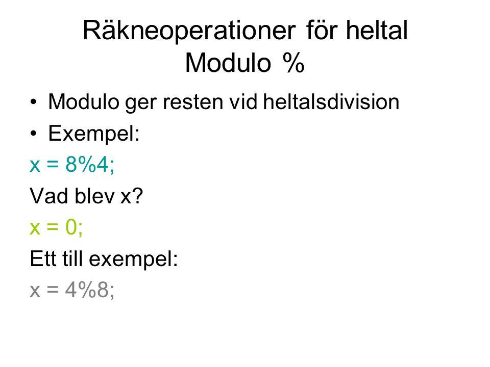 Räkneoperationer för heltal Modulo %