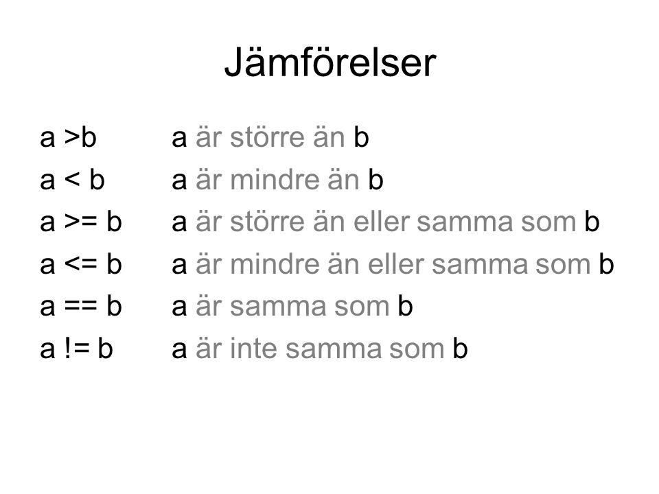 Jämförelser a >b a är större än b a < b a är mindre än b