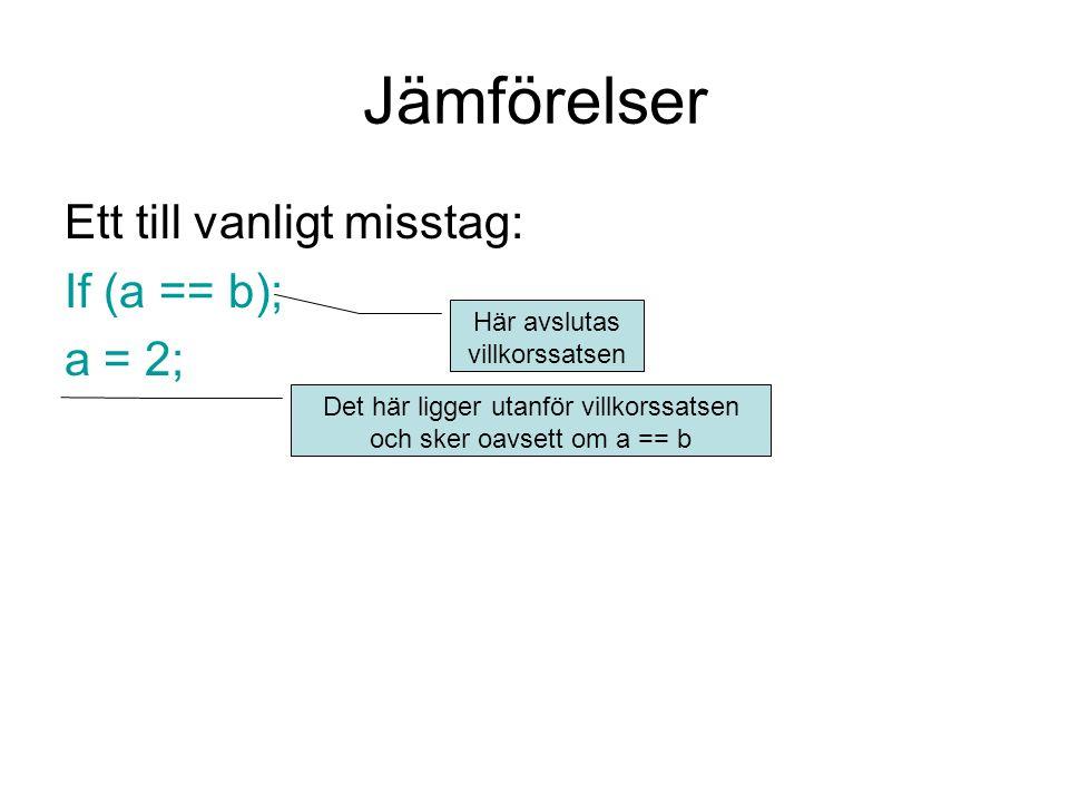 Jämförelser Ett till vanligt misstag: If (a == b); a = 2;