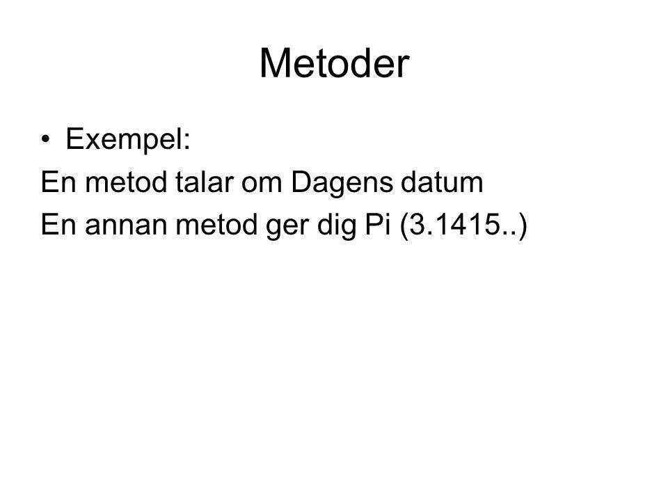 Metoder Exempel: En metod talar om Dagens datum