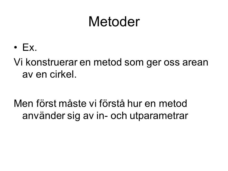 Metoder Ex. Vi konstruerar en metod som ger oss arean av en cirkel.
