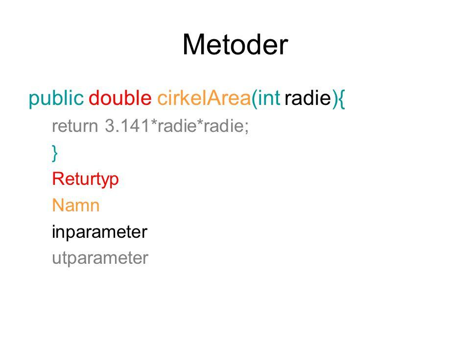 Metoder public double cirkelArea(int radie){ return 3.141*radie*radie;