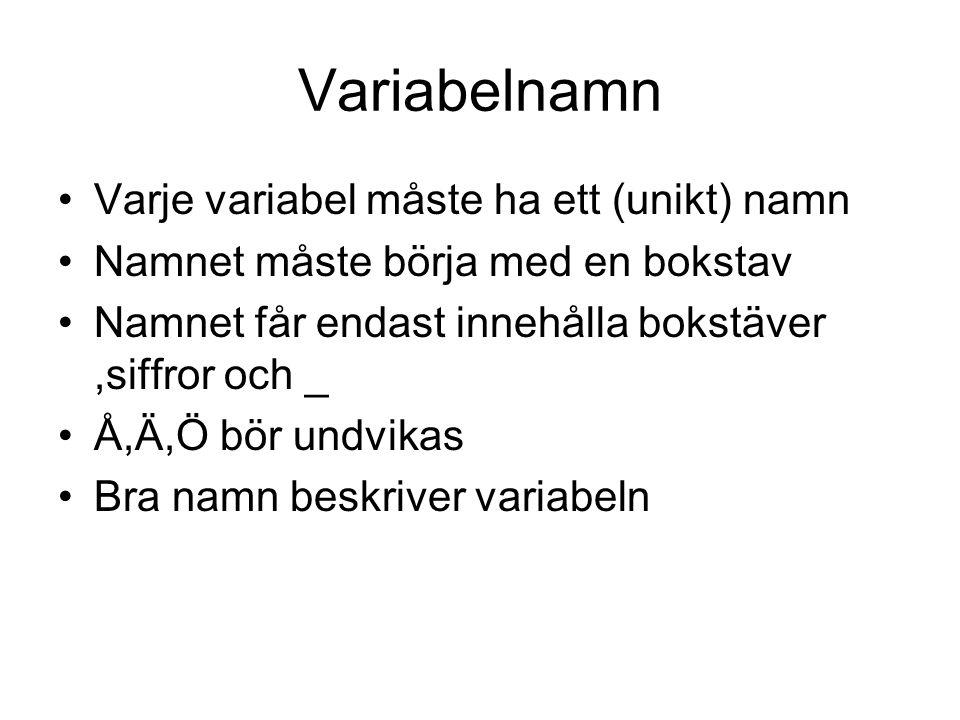 Variabelnamn Varje variabel måste ha ett (unikt) namn