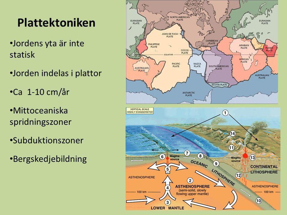 Plattektoniken Jordens yta är inte statisk Jorden indelas i plattor