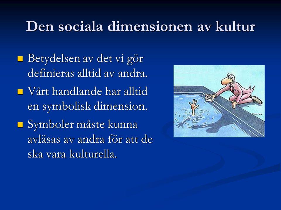 Den sociala dimensionen av kultur