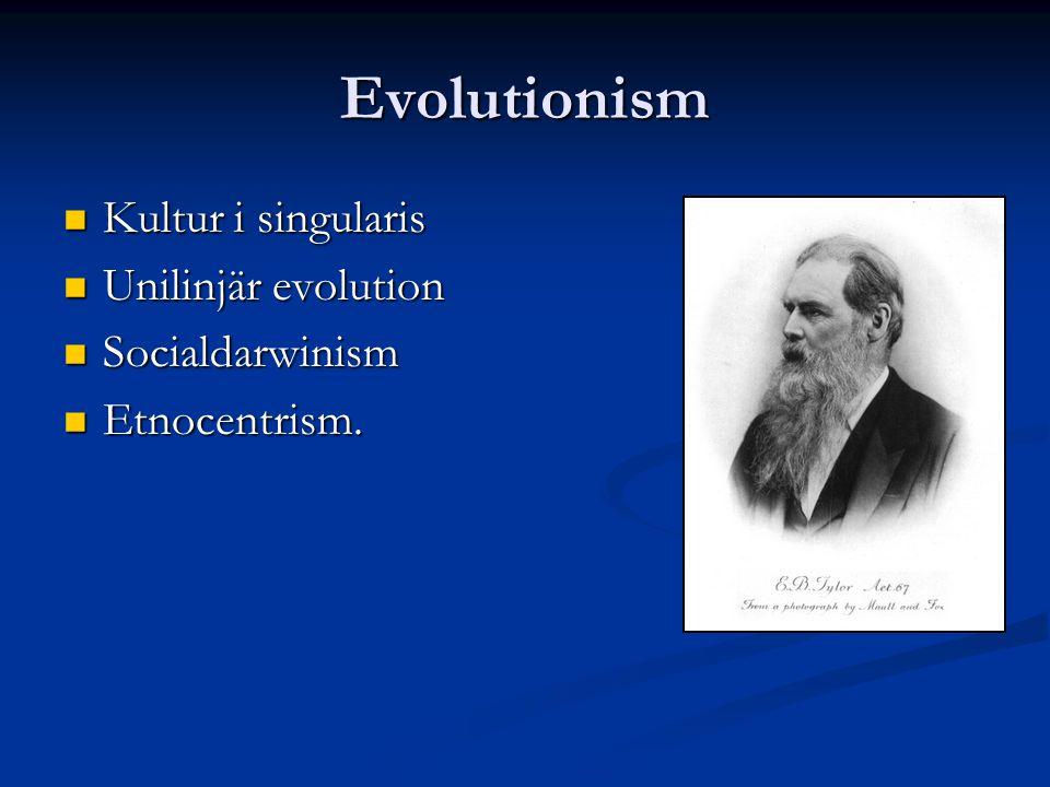 Evolutionism Kultur i singularis Unilinjär evolution Socialdarwinism