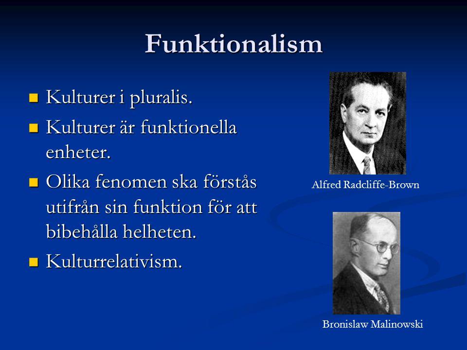 Funktionalism Kulturer i pluralis. Kulturer är funktionella enheter.