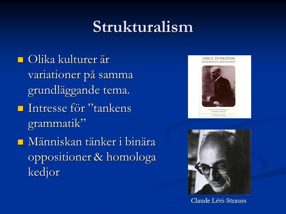 Strukturalism Olika kulturer är variationer på samma grundläggande tema. Intresse för tankens grammatik