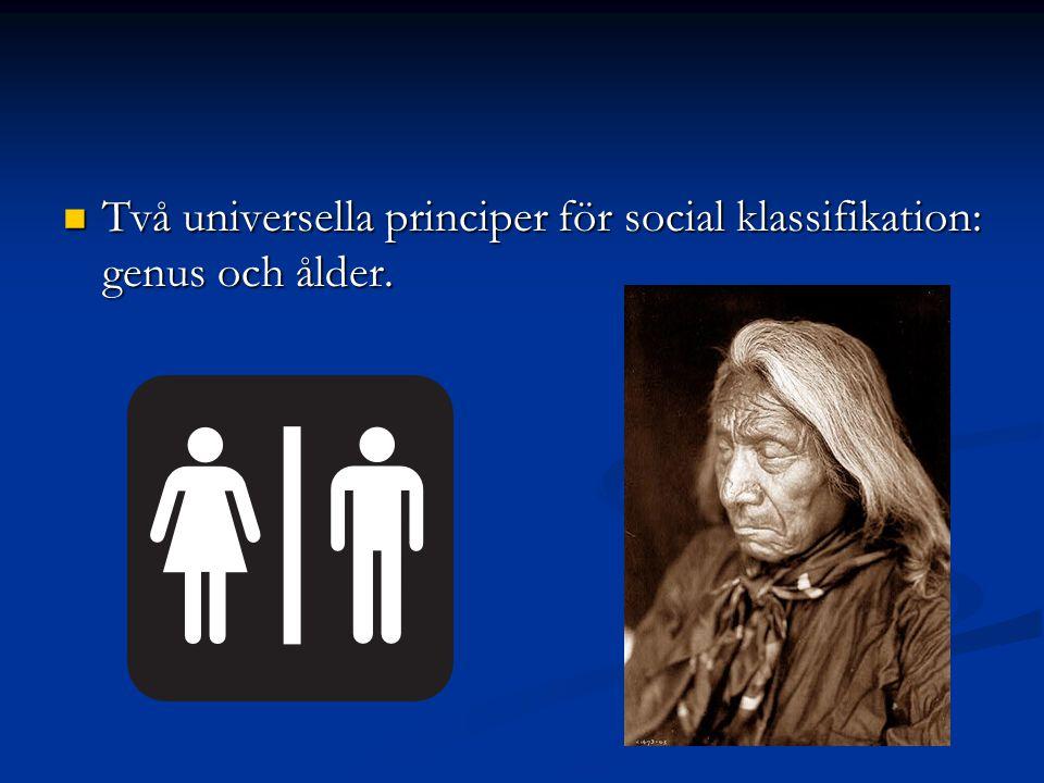 Två universella principer för social klassifikation: genus och ålder.