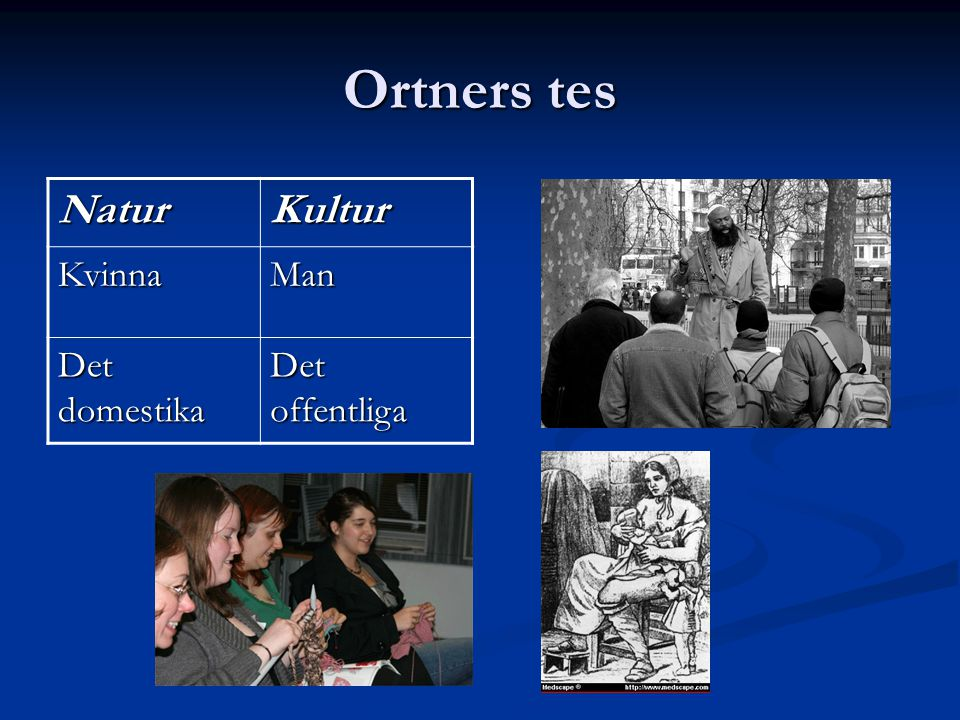 Ortners tes Natur Kultur Kvinna Man Det domestika Det offentliga