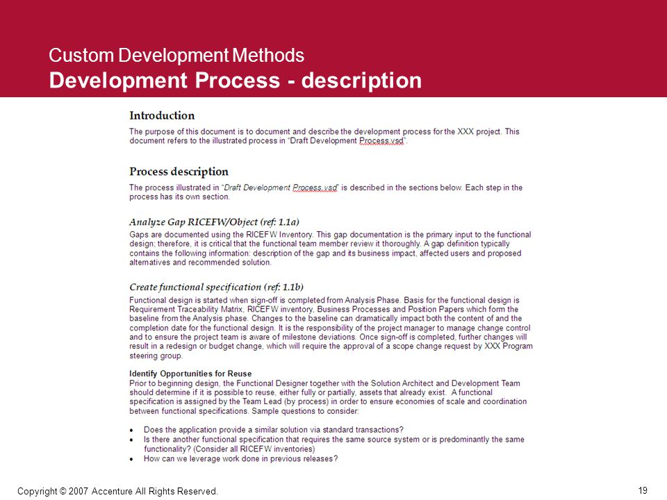 Custom Development Methods Development Process - description