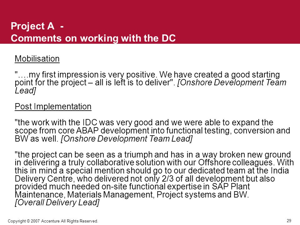 Project A - Comments on working with the DC