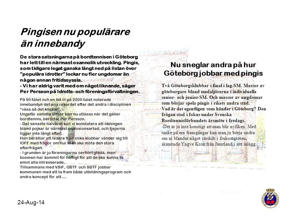 Nu sneglar andra på hur Göteborg jobbar med pingis