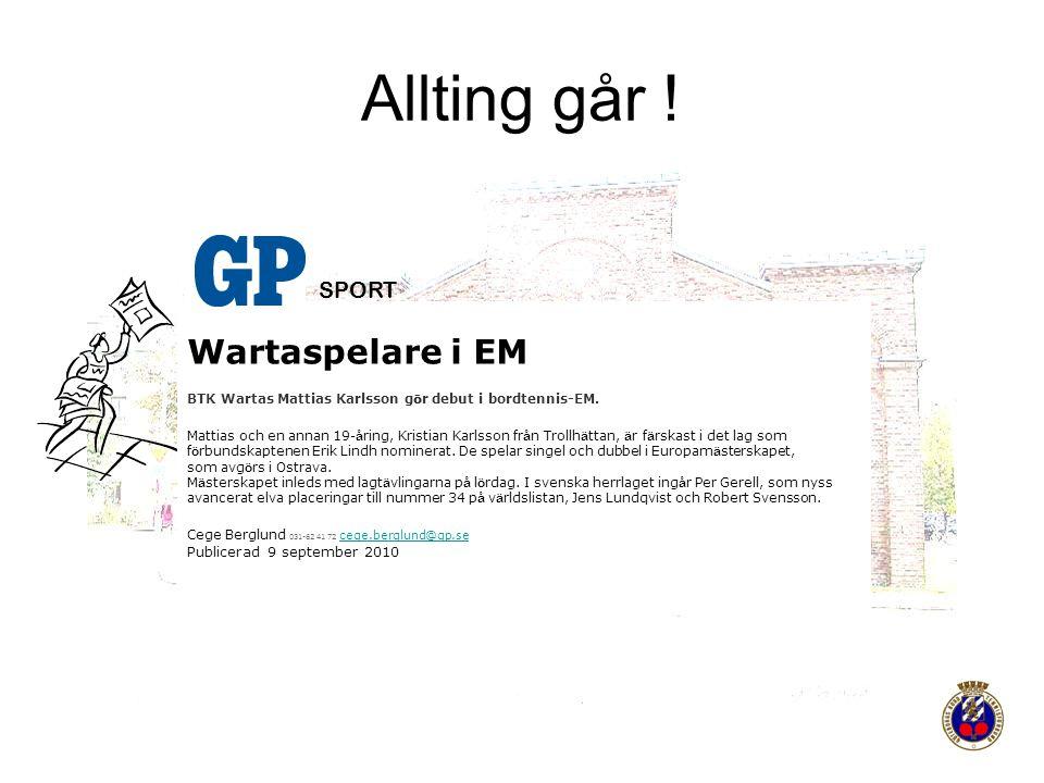 Allting går ! Wartaspelare i EM SPORT Publicerad 9 september 2010