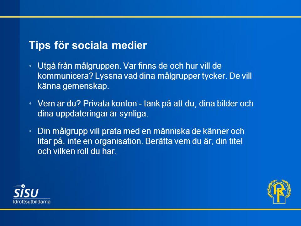 Tips för sociala medier