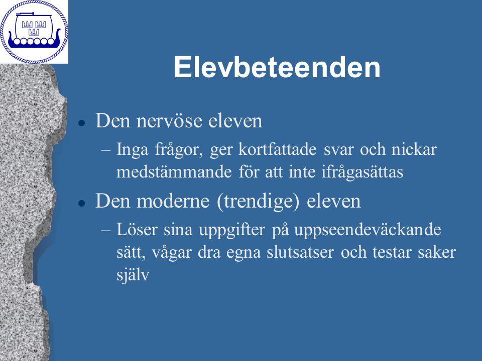 Elevbeteenden Den nervöse eleven Den moderne (trendige) eleven