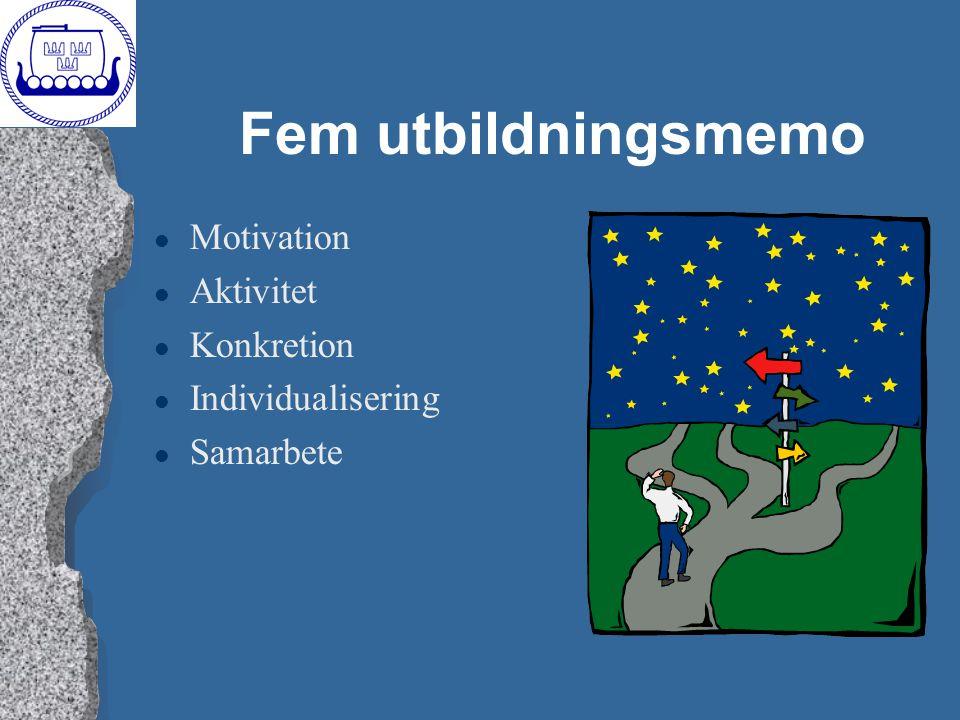 Fem utbildningsmemo Motivation Aktivitet Konkretion Individualisering