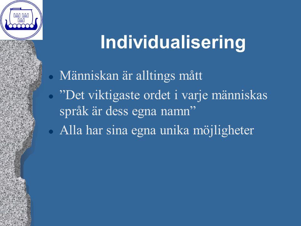 Individualisering Människan är alltings mått