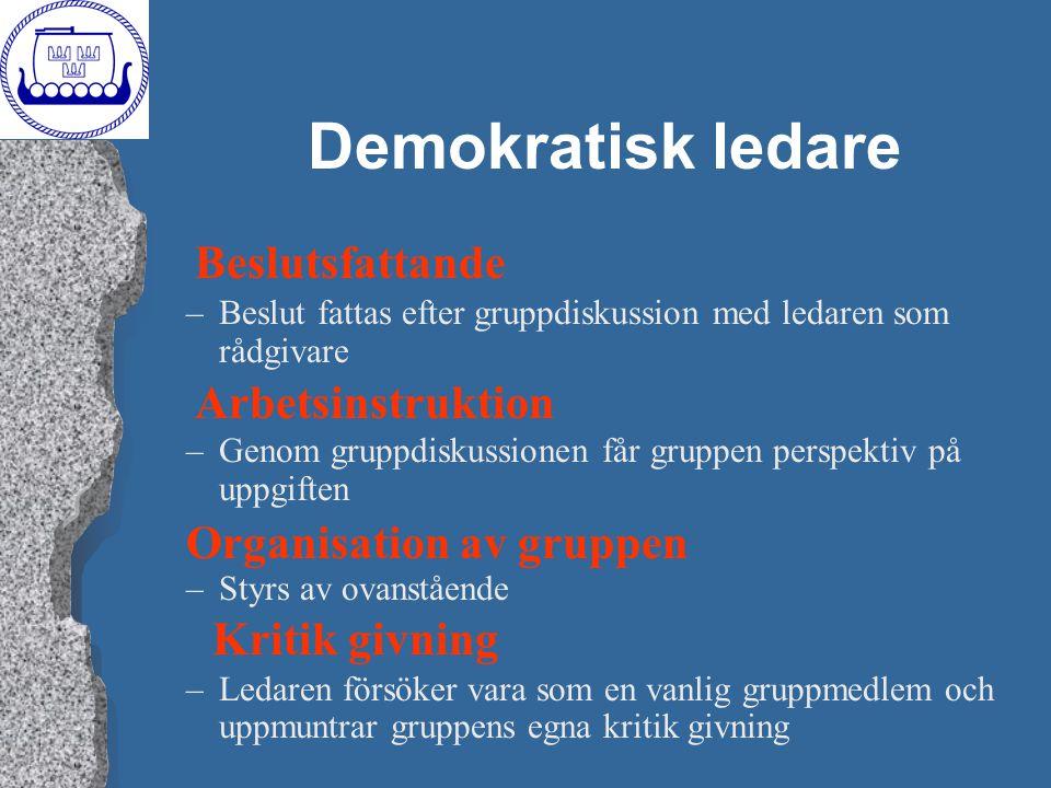 Demokratisk ledare Beslutsfattande Arbetsinstruktion