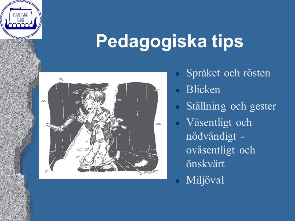 Pedagogiska tips Språket och rösten Blicken Ställning och gester