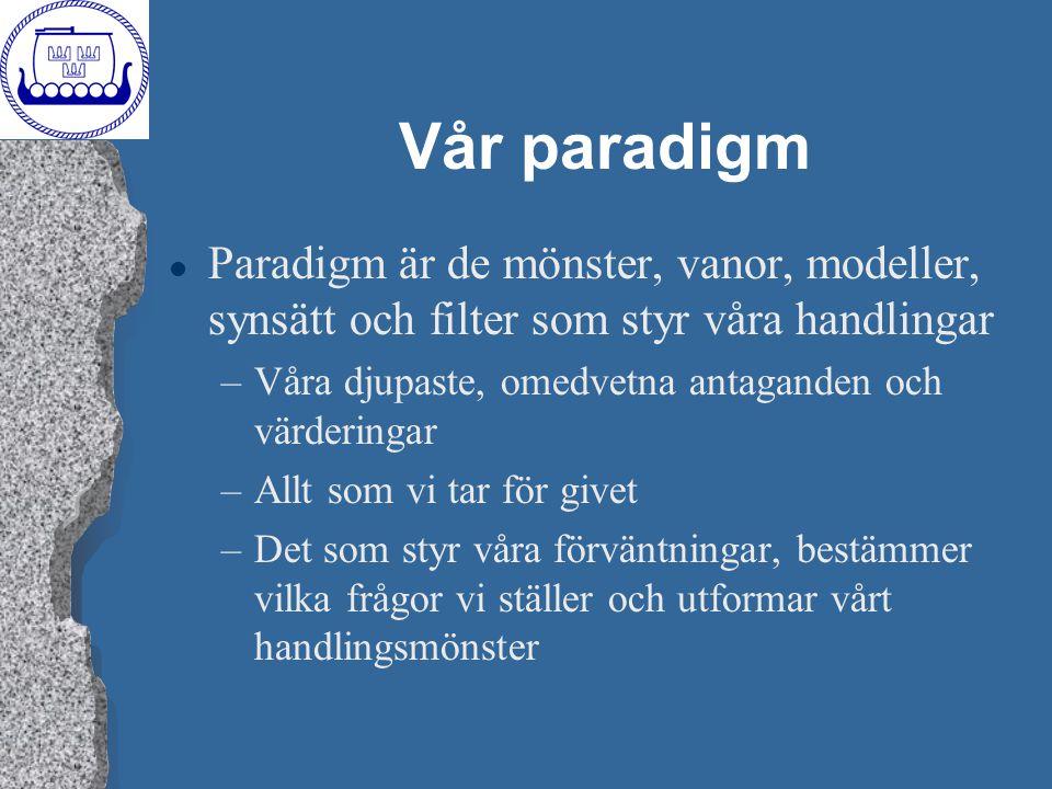 Vår paradigm Paradigm är de mönster, vanor, modeller, synsätt och filter som styr våra handlingar.