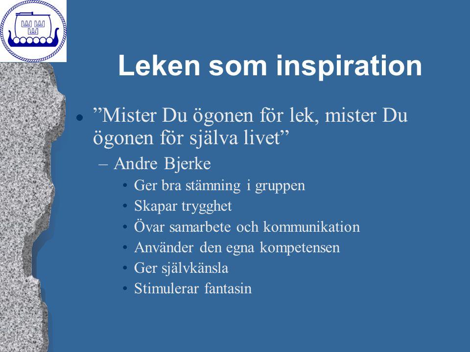 Leken som inspiration Mister Du ögonen för lek, mister Du ögonen för själva livet Andre Bjerke. Ger bra stämning i gruppen.