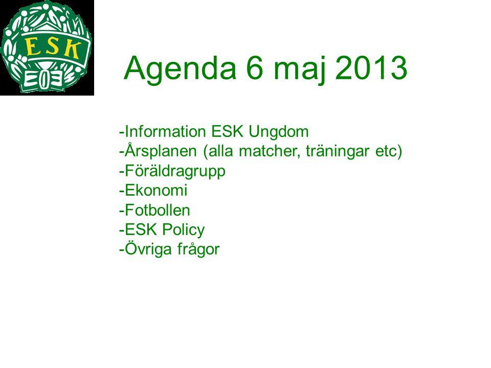 Information ESK Ungdom Årsplanen (alla matcher, träningar etc)