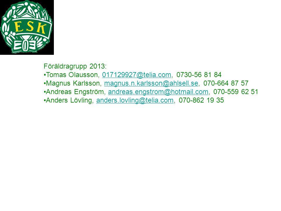 Föräldragrupp 2013: Tomas Olausson, 017129927@telia.com, 0730-56 81 84. Magnus Karlsson, magnus.n.karlsson@ahlsell.se, 070-664 87 57.