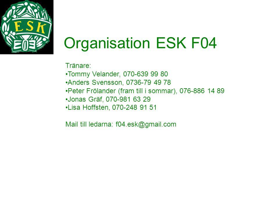 Organisation ESK F04 Tränare: Tommy Velander, 070-639 99 80. Anders Svensson, 0736-79 49 78. Peter Frölander (fram till i sommar), 076-886 14 89.