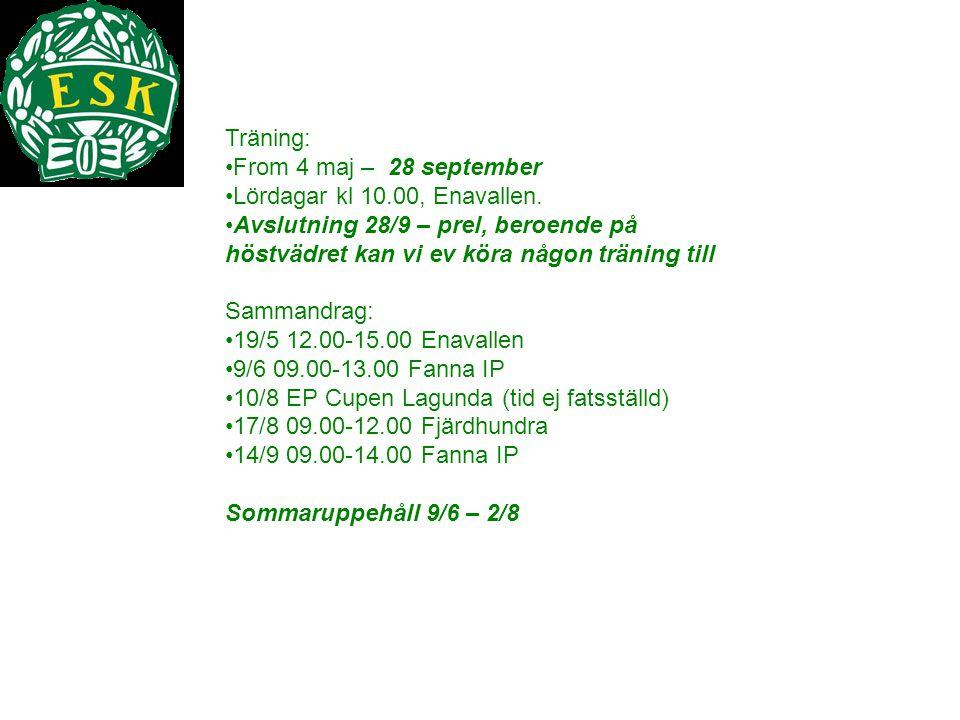Träning: From 4 maj – 28 september. Lördagar kl 10.00, Enavallen. Avslutning 28/9 – prel, beroende på höstvädret kan vi ev köra någon träning till.