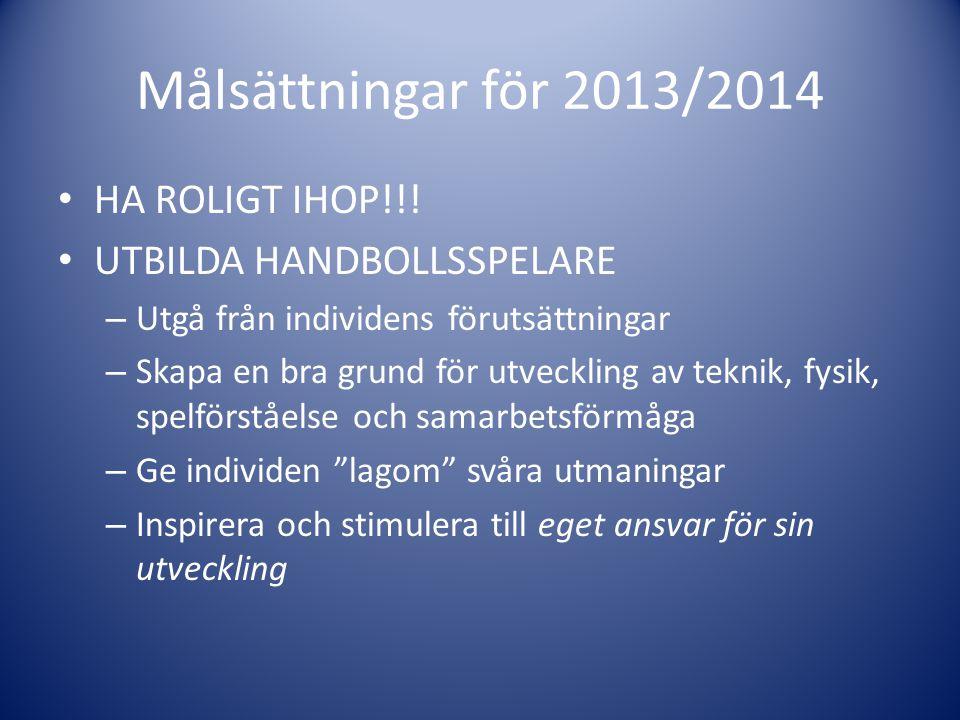 Målsättningar för 2013/2014 HA ROLIGT IHOP!!! UTBILDA HANDBOLLSSPELARE