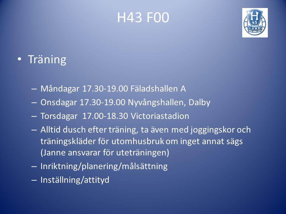 H43 F00 Träning Måndagar 17.30-19.00 Fäladshallen A